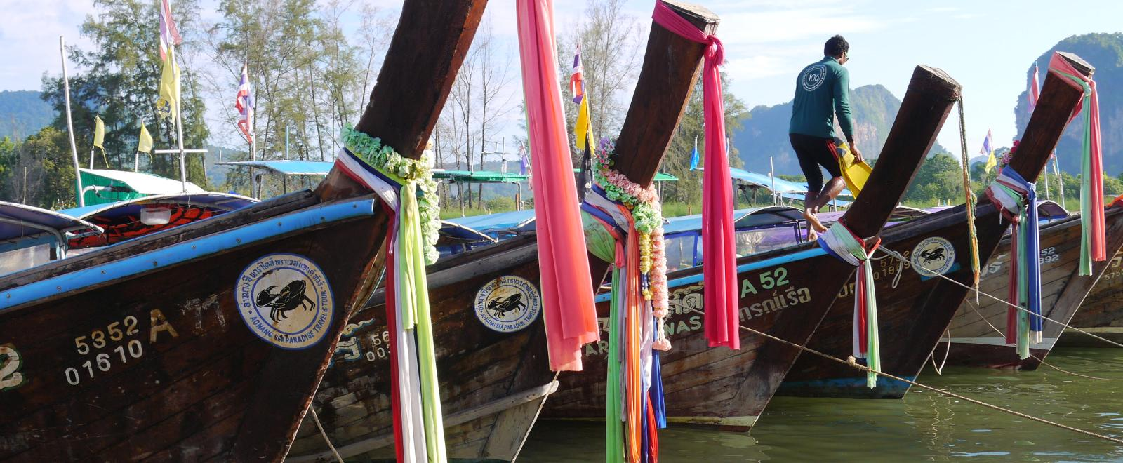 Boats are lined up in Thailand, where Projects Abroad hosts many worthwhile Projects